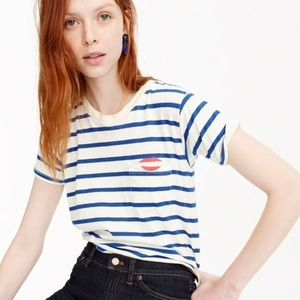 J. CREW | embroidered striped pocket tee